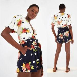 NWT Farm Rio Nanaju Floral Linen Shorts Size XS